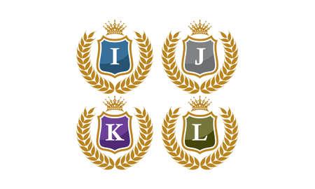 Shield Leaves Crown Initial I J K L