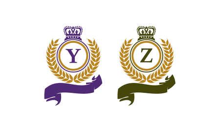 Crown Leaf Ribbon Initial Y Z Illustration