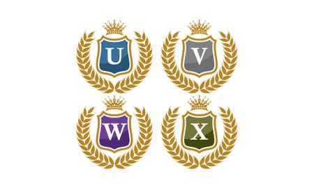 Shield Leaves Crown Initial U V W X