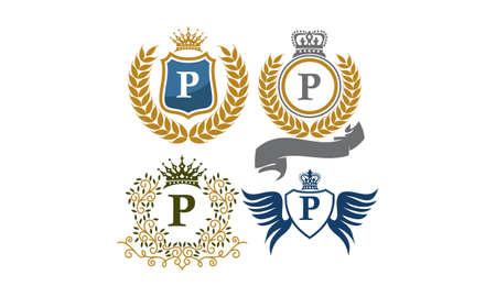 Crown Shield Leaves Ribbon Wings Letter P Illustration