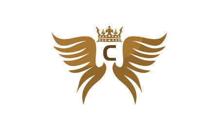 Wing shield crown initial C on white background, vector illustration. Illustration