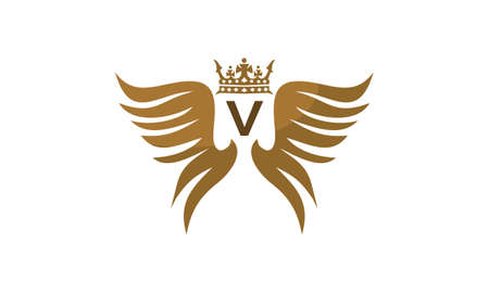 Wing shield crown initial V on white background, vector illustration.