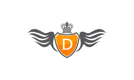 Wing Shield with Crown and letter D design. Illustration
