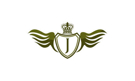 Wing Shield Crown Initial J.