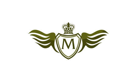 Wing Shield Crown Initial M. Illustration
