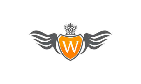 Wing Shield Crown Initial W