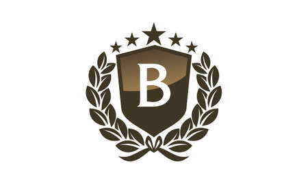Royal VIP Shield Leaf Initial B Vettoriali