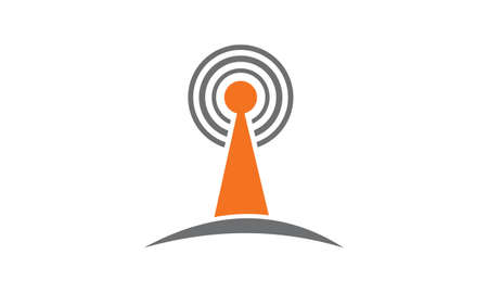 Radio signal technology icon on white background, vector illustration.