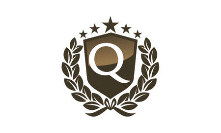 Royal VIP Shield with leaves and letter Q