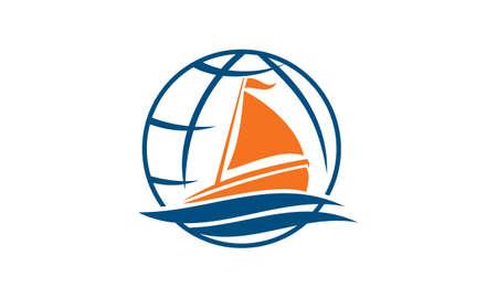 Icône de vacances tour yacht sur fond blanc, illustration vectorielle.