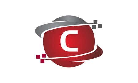 Technology transfer letter C icon on white background, vector illustration.