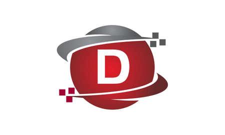 Technology transfer letter d icon on white background, vector illustration.