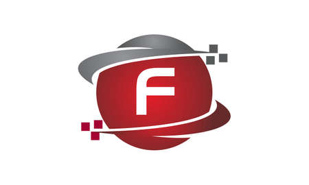 Technology transfer letter F icon on white background, vector illustration.