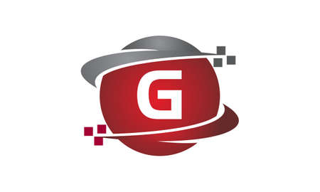 Technology transfer letter G icon on white background, vector illustration.