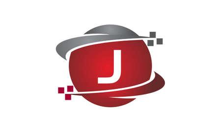 Icono de la letra J de la transferencia de tecnología en el fondo blanco, ilustración del vector.