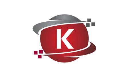 Technology transfer letter K icon on white background, vector illustration.