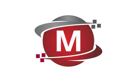 Technology transfer letter M icon on white background, vector illustration. Illustration