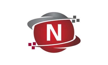 Icono de la letra N de la transferencia de tecnología en el fondo blanco, ilustración del vector.