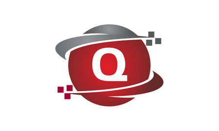 Technology transfer letter Q icon on white background, vector illustration.