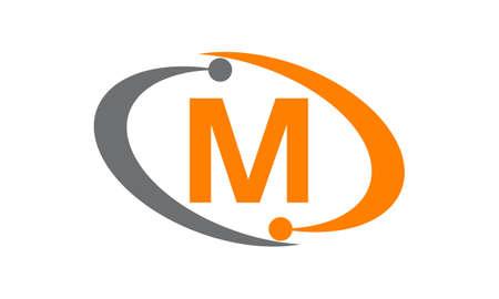 processors: Capital letter M icon concept.