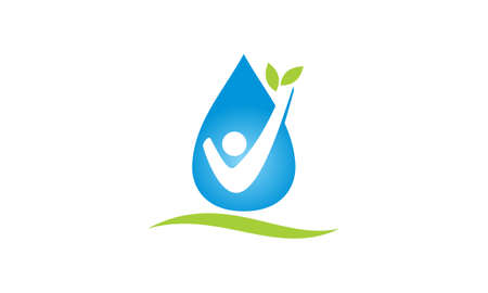 Water droplet with leaf icon.