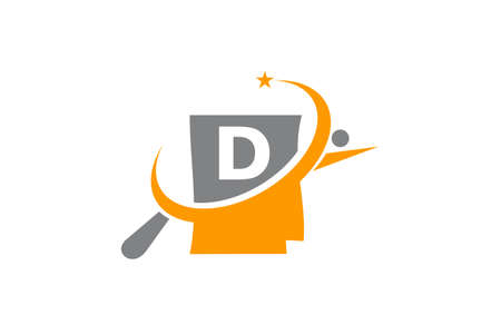 Capital letter D search icon design.