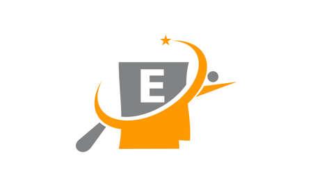 Capital letter E search icon design. Illustration
