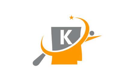 Capital letter K search icon design. Illustration