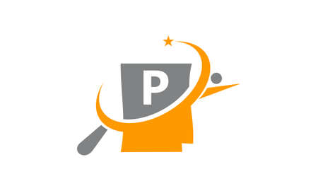 Capital letter P search icon design.