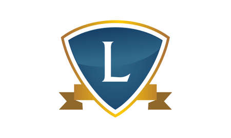 Shield ribbon letter L illustration.