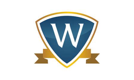 Shield ribbon letter W on white background, vector illustration.