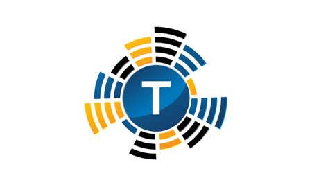 Sound Service Production Letter T. 向量圖像