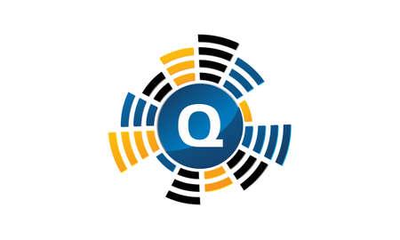 Sound Service Production Letter Q. 向量圖像