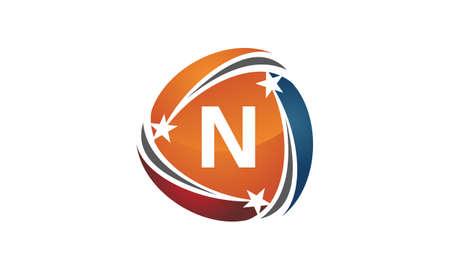 Letter N emblem design Illustration