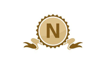 Letter N ribbon. Illustration