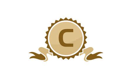 Letter C ribbon. Illustration