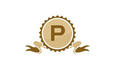 Letter P ribbon. Illustration