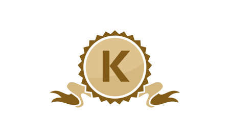 Letter K ribbon. Illustration