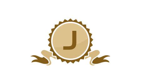Letter J ribbon. Illustration