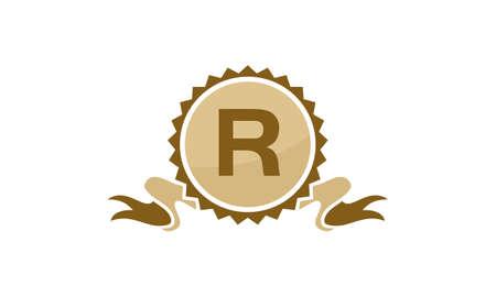 Letter R ribbon design concept. Illustration