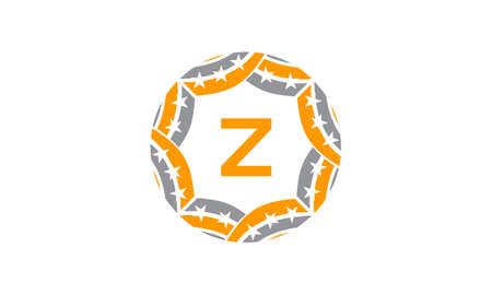 Ribbon Circle Star Initial Z