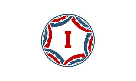 Ribbon Circle Star Initial I logo Çizim