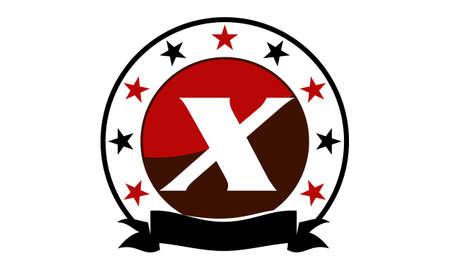 Emblem Star Ribbon Circle Initial X