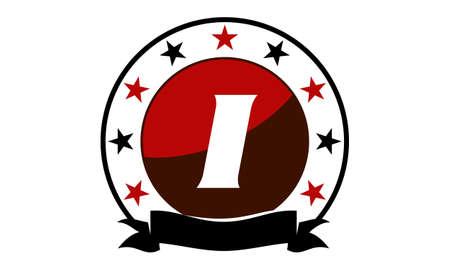 Emblem Star Ribbon Circle Initial I