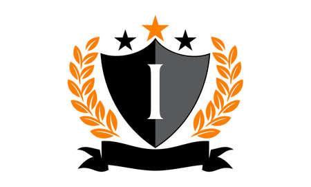 Emblem Star Ribbon Shield Initial I Çizim