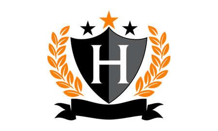 Embleem Star Ribbon Shield Initiaal H Stock Illustratie