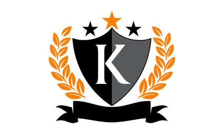 Emblem Star Ribbon Shield Initial K