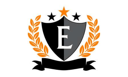 Emblem Star Ribbon Shield Initial E Illustration