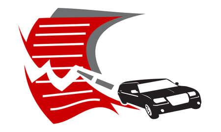 Car driving through Document Automotive Illustration