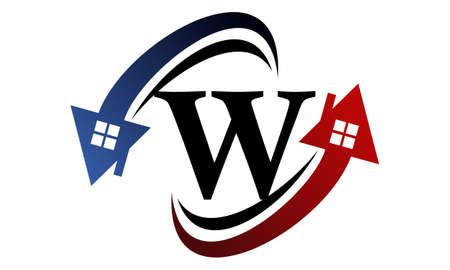 Real estate letter W for symbol logo design Illustration